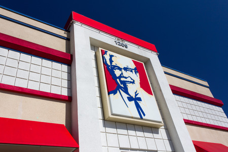SALINAS, CAUSA - MAY 18, 2014: KFC restaurant exterior. KFC  is a fast food restaurant chain that specializes in fried chicken and worlds second largest restaurant chain. Editorial