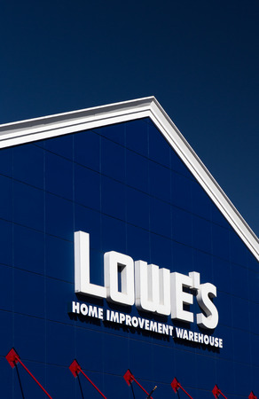 GILROY, CAUSA - MAY 26, 2014: Lowes Home Improvement Warehouse exterior. Lowes is an American chain of retail home improvement stores in the United States, Canada, and Mexico.