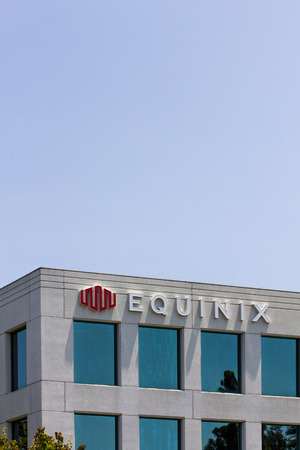 REDWOOD CITY, CAUSA - MAY 31, 2014: Equinix corporate headquarters in Silicon Valley. Equinix provides carrier-neutral data centers and internet exchanges, network-neutral data centers  and interconnection services. Editorial
