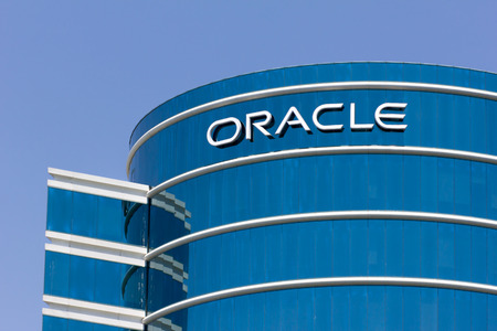 oracle: REDWOOD CITY, CAUSA - MAY 31, 2014: Oracle corporate headquarters in Silicon Valley.  Oracle is a computer technology corporation specializing in database management systems.