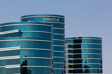 REDWOOD CITY, CAUSA - MAY 31, 2014: Oracle corporate headquarters in Silicon Valley.  Oracle is a computer technology corporation specializing in database management systems.