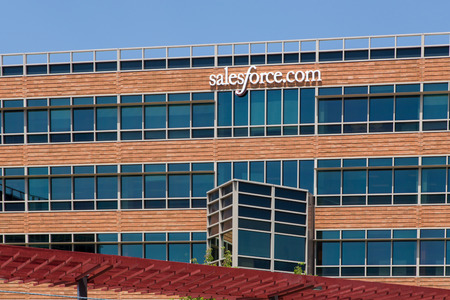 SAN FRANCISCO, CAUSA - MAY 31, 2014: Salesforce.com corporate headquarters. Salesforce.com Inc. is a global cloud computing company headquartered in San Francisco, California known for its customer relationship management (CRM) product.