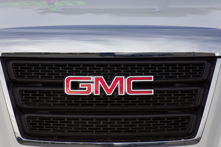 grille: SALINAS, CAUSA - JUNE 14, 2014: GMC logo and grille. General Motors Corporation is an American automobile division of the American manufacturer General Motors. Editorial