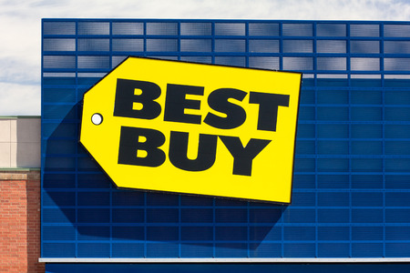 RICHFIELD, MN/USA - JUNE 21, 2014:  Best Buy store front. Best Buy is an American multinational consumer electronics corporation operating in the USA, Puerto Rico, Mexico, Canada, and China.