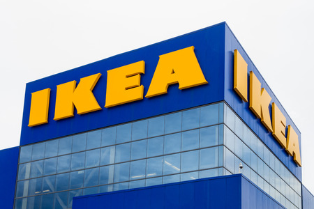 home appliances: BLOOMINGTON, MNUSA - JUNE 22, 2014:  Ikea store exterior. Ikea is a Swedish company  that designs and sells ready-to-assemble furniture, appliances and home accessories. Editorial