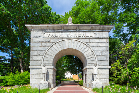 university of wisconsin: MADISON, WIUSA - JUNE 26, 2014:  Historic arched entry to Camp Randall Stadium on the campus of the University of Wisconsin-Madison. The University of Wisconsin is a University in the United States.