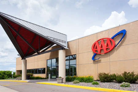 ST. LOUIS PARK, MN/USA - JUNE 23, 2014: AAA Regional Headquarters and service center. The  AAA is a non-profit federation of motor clubs in North America.
