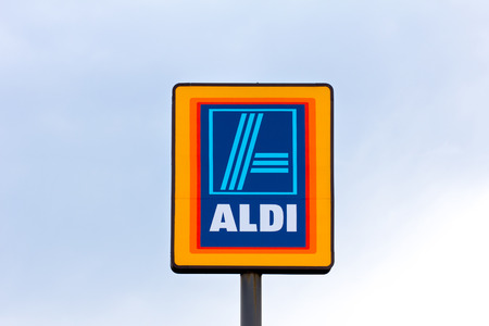 EAU CLAIRE, WIUSA - JUNE 24, 2014:  Aldi grocery store sign.  Aldi is is a global discount supermarket chain based in Germany.