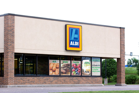 EAU CLAIRE, WIUSA - JUNE 24, 2014:  Aldi grocery store exterior.  Aldi is is a global discount supermarket chain based in Germany.