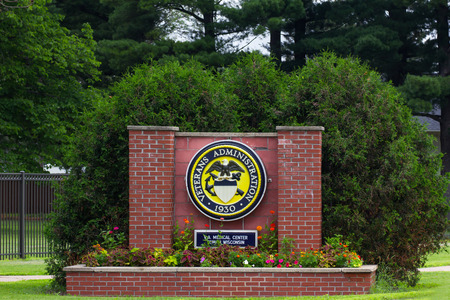 TOMAH, WIUSA - JUNE 26, 2014:  Veterans Hospital entrance sign. Veterans Affairs hospitals are part of the United States Department of Veterans Affairs.