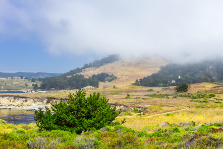 settles: Marine layer settles in over Carmel Highlands at Point Lobos