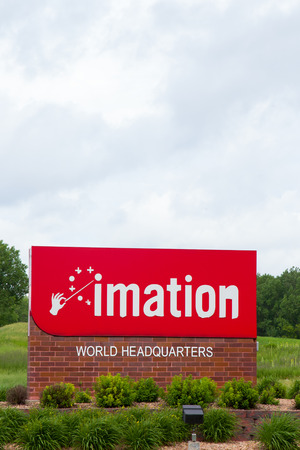 OAKDALE, MNUSA - JUNE 27, 2014: Imation world headquarters location.  Imation is an American global scalable storage and data security company.