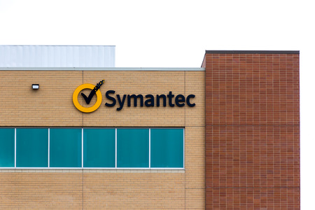 ROSEVILLE, MNUSA - JUNE 28, 2014: Symantec regional office. Symantec makes security, storage, backup and availability software and offers professional services to support its software.