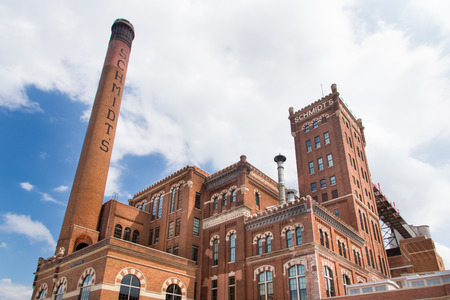 brewery: ST. PAUL, MNUSA - JUNE 28, 2014:  The historic Schmidt Brewery and today site of restored Schmidt Artist Lofts. Editorial