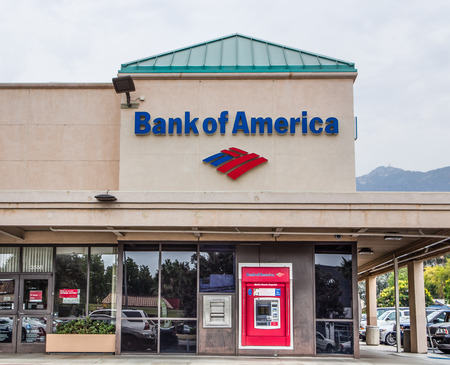 red america: PASADENA, CAUSA - AUGUST 2, 2014: Bank of America exterior. Bank of America is an American multinational banking and financial services corporation headquartered in Charlotte, North Carolina. Editorial