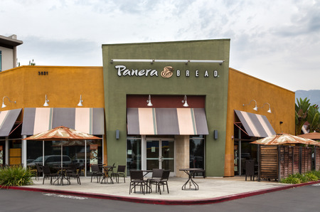 restaurant exterior: PASADENA, CAUSA - AUGUST 2, 2014: Panera Bread restaurant exterior. Panera Bread is a chain of bakery-café fast casual restaurants in the United States and Canada.