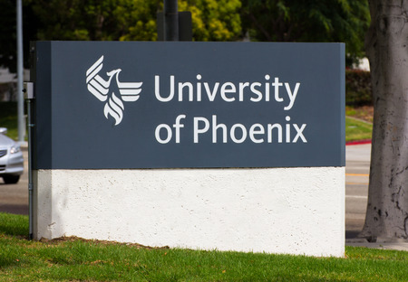headquartered: CARSON, CAUSA - AUGUST 2, 2014: The University of Phoenix facility. The University of Phoenix is an American for-profit institution of higher learning, headquartered in Phoenix, Arizona, United States.