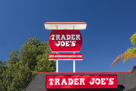 headquartered: PASADENA, CAUSA - AUGUST 16, 2014. Trader Joes vintage exterior and sign. Trader Joes is an American privately held chain of specialty grocery stores headquartered in Monrovia, California. Editorial