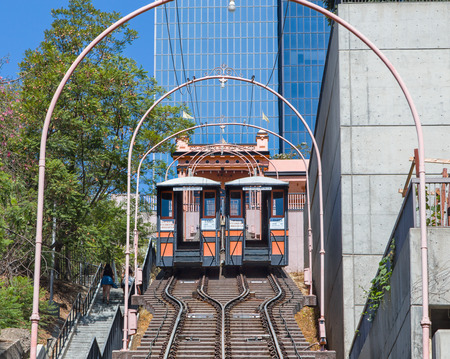 LOS ANGELES, CAUSA - AUGUST 30, 2014:  Angels Flight Railway. Angels Flight is a landmark railway in the Bunker Hill district of Downtown Los Angeles, California.
