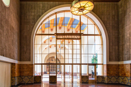 western united states: LOS ANGELES, CAUSA - AUGUST 30, 2014. Interior space of Union Station. Los Angeles Union Station is the largest railroad passenger terminal in the Western United States.