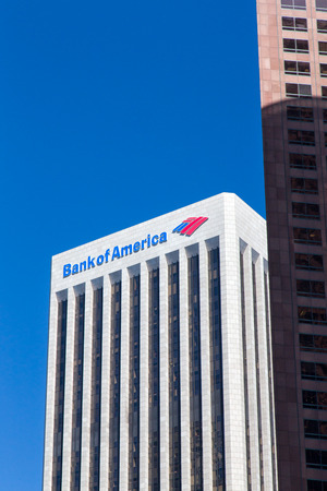 headquartered: LOS ANGELES, CAUSA - AUGUST 30, 2014: Bank of America Center. Bank of America is an American multinational banking and financial services corporation headquartered in Charlotte, North Carolina.