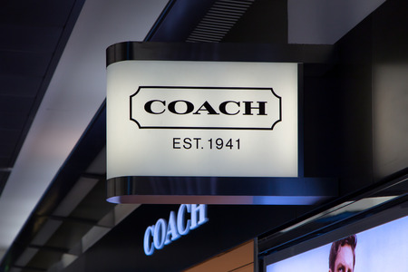 designer bag: SAN FRANCISCO, CAUSA - JUNE 19, 2014: Coach store exterior. Coach, Inc. is an American luxury leather goods company. Editorial