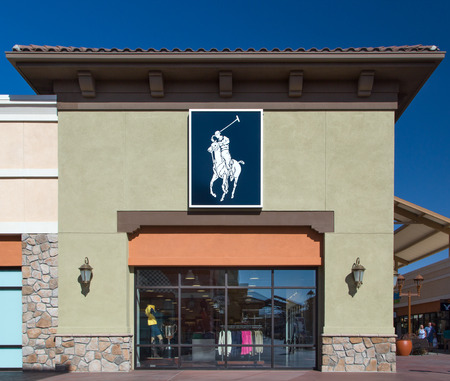 high end: TEJON RANCH, CAUSA - SEPTEMBER 5, 2014: Polo Ralph Lauren store exterior. Polo Ralph Lauren designs, markets and sells high end mens, womens and childrens apparel. Editorial