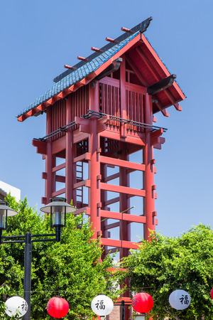 watchtower: LOS ANGELES, CAUSA - SEPTEMBER 30, 2014: The Little Tokyo Watchtower in the Little Tokyo district of downtown Los Angeles.