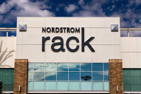 PASADENA, CAUSA - OCTOBER 25, 2014:  Nordstrom Rack retail store exterior. Nordstrom, Inc. is an American upscale fashion retailer. Editorial