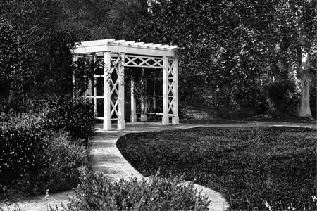 entrance arbor: Garden Trellis and Path in Black and White