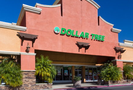 liquidate: SANTA CLARITA, CAUSA - NOVEMBER 2, 2014:  Dollar Tree retail store exterior. Dollar Tree, Inc. is an American chain of discount variety stores that sells items for $1 or less. Editorial