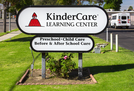 NORTH HILLS, CAUSA - OCTOBER 30, 2014: KinderCare Learning Center sign and exterior.KinderCare Learning Centers is an American operator of child care and early childhood education.