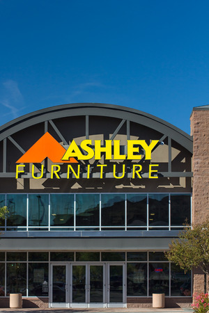 furniture store: SANTA CLARITA, CAUSA - NOVEMBER 8, 2014:  Ashley Furniture store exterior. Ashley Furniture is a furniture company that manufactures and distributes home furniture products throughout the world.
