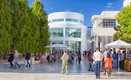 opulence: LOS ANGELES, CAUSA - NOVEMBER 9, 2014:  Unidentified visitors at the Getty Center. The Getty Center is a campus of the Getty Museum and other programs of the Getty Trust.