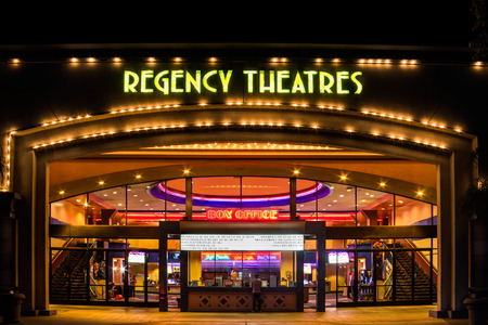 entrance: WESTMINSTER, CAUSA - NOVEMBER 10, 2014: Regency Theaters exterior. Regal Entertainment Group is a movie theater chain headquartered in Knoxville, Tennessee.