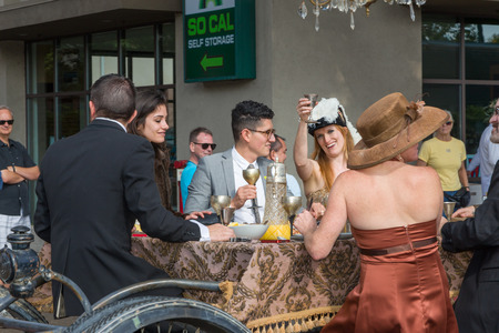 satirical: PASADENA, CAUSA - NOVEMBER 15, 2014: Unidentified participants and merry-goers at the 37th annual Pasadena Doo Dah Parade. The Doo Dah Parade is a satirical parody of the Tournament of Roses parade.