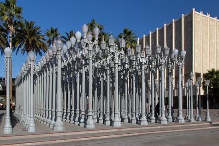 los angeles county: LOS ANGELES, CAUSA - NOVEMBER 29, 2014:  Urban Light sculpture at the Los Angeles County Museum of Art. The Los Angeles County Museum of Art is an art museum in Los Angeles. Editorial