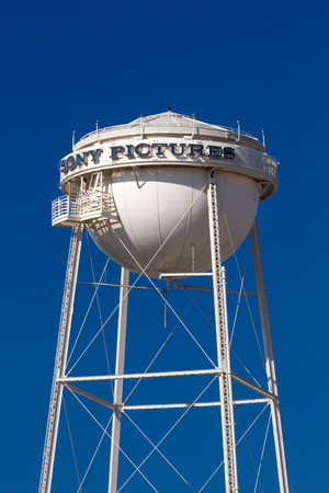 sony: CULVER CITY, CAUSA - NOVEMBER 29, 2014: Sony Pictures studios water tower and marquee. Sony Pictures Studios are a television and film studio complex.