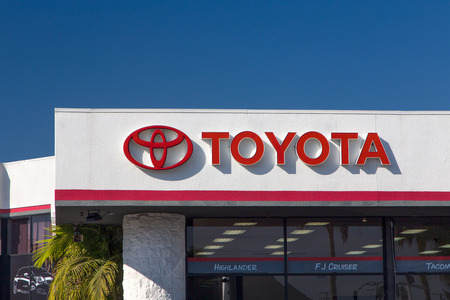 culver city: CULVER CITY, CAUSA - NOVEMBER 29, 2014: Toyota automobile dealership sign. Toyota is a multi-national Japanese automotive manufacturer. Editorial
