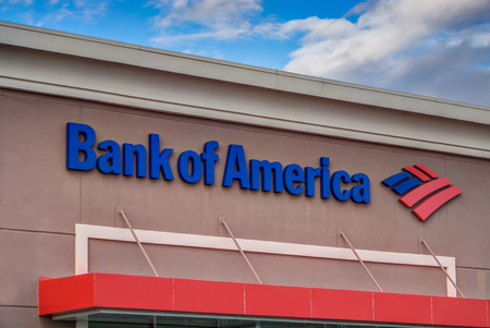 bank of america: CANYON COUNTRY, CAUSA - DECEMBER 18, 2014: Bank of America exterior. Bank of America is an American multinational banking and financial services corporation headquartered in Charlotte, North Carolina. Editorial