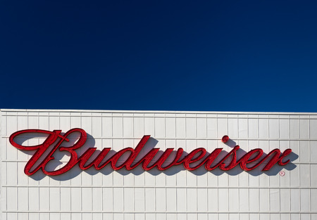 brewery: VAN NUYS, CAUSA - DECEMBER 23, 2014: Budweiser brewery sign and exterior. Budweiser is one of the highest selling beers in the United States, and is available in over 80 markets worldwide.