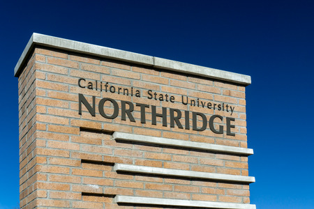 cal: NORTHRIDGE, CAUSA - DECEMBER 23, 2014: Entrance sign to California State University, Northridge. Cal State Northridge is a public university in the Northridge neighborhood of Los Angeles, California. Editorial