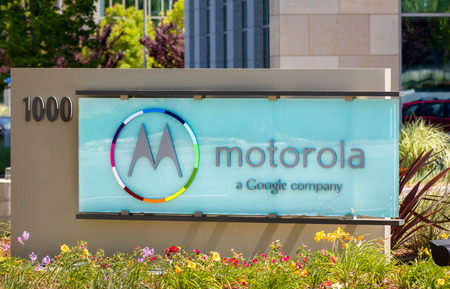 SANTA CLARA,CAUSA - MAY 11, 2014: Motorola headquarters and sign in Silicon Valley. Motorola is a technology and telecommunications company owned by Google.