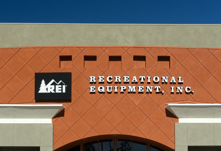 rei: GRANADA HILLS, CAUSA - DECEMBER 26, 2014: REI store in Marina, California.  Recreational Equipment Inc. is a retail corporation organized as a consumers cooperative, selling outdoor recreation gear, sporting goods, and clothing. Editorial