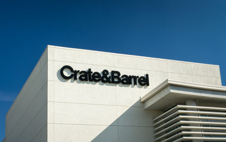 housewares: BEVERLY HILLS, CAUSA - JANUARY 3, 2015: Crate and Barrel retail store exterior. Crate and Barrel is an American chain of retail stores specializing in housewares, furniture and home accessories. Editorial