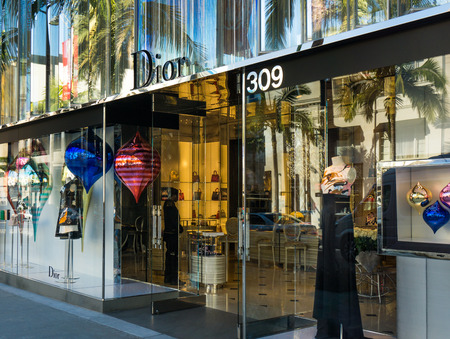 opulence: BEVERLY HILLS, CAUSA - JANUARY 3, 2015: Christian Dior retail store exterior. Dior is a luxiry retailer of apparel, fashion accessories, footwear, jewelry and couture.
