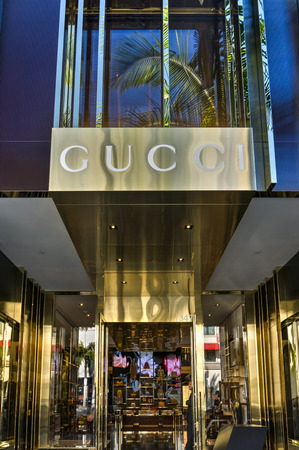 BEVERLY HILLS, CAUSA - JANUARY 3, 2015: Gucci retail store exterior. Gucci is an Italian fashion and leather goods brand with retail stores throughout the world.