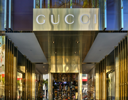 gucci store: BEVERLY HILLS, CAUSA - JANUARY 3, 2015: Gucci retail store exterior. Gucci is an Italian fashion and leather goods brand with retail stores throughout the world.