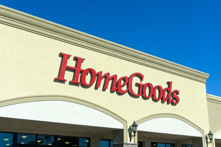 home furnishing: GRANADA HILLS, CAUSA - JANUARY 7, 2015: HomeGoods retail store exterior and sign. HomeGoods is a chain of home furnishing stores operated by TJX Companies.