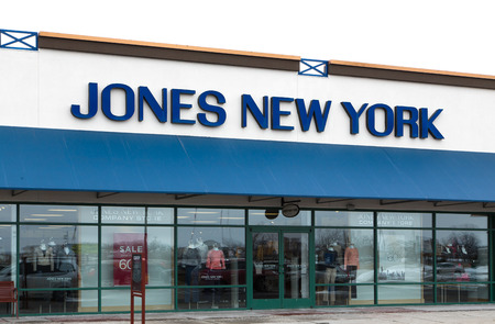 jones: ALBERTVILLE, MNUSA - JANUARY 16, 2015: Jones New York retail exterior. The Jones Group is an American designer, marketer and wholesaler of branded clothing, shoes and accessories. Editorial